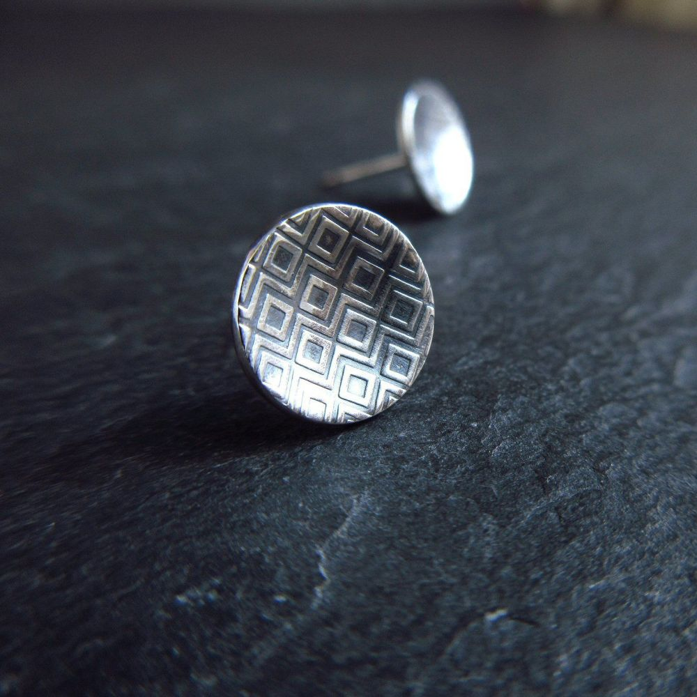 Sterling Silver Stud Earrings with Diamond Pattern