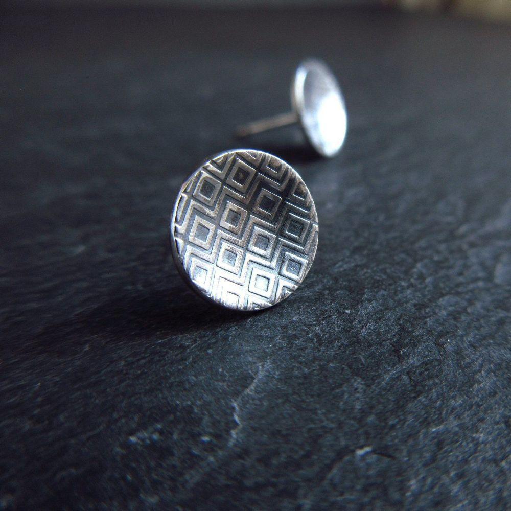 Sterling Silver Stud Earrings with Diamond Pattern