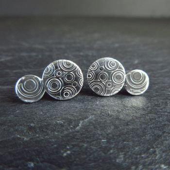 Double Disc Sterling Silver Studs with Circles Pattern