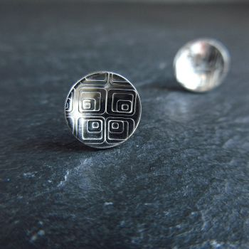 Sterling Silver Stud Earrings with Retro Square Pattern