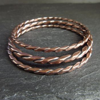Copper Bangle Set with Twisted Square Wire