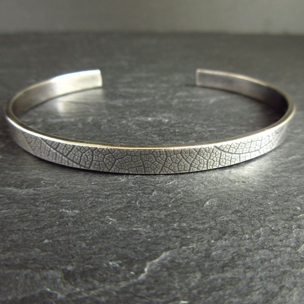 Sterling Silver Cuff Bracelet with Leaf Vein Texture Oxidized
