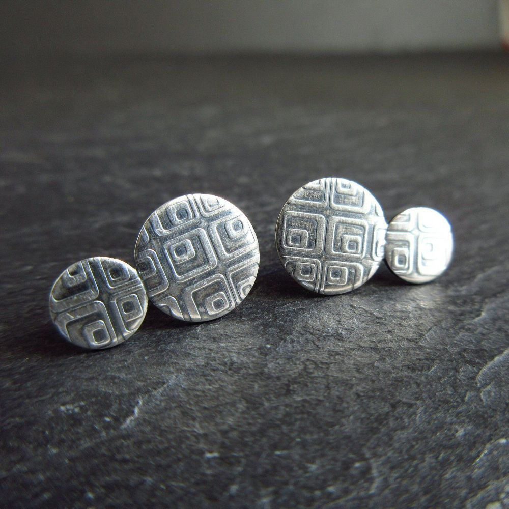 Double Disc Sterling Silver Studs with Retro Square Square Design