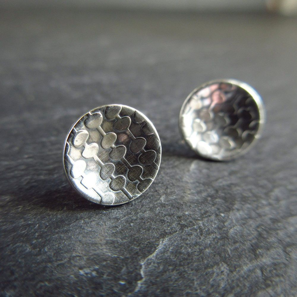 Sterling Silver Stud Earrings with Leaf and Stem Pattern