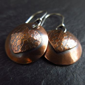 Copper Heart and Disc Earrings - Dots
