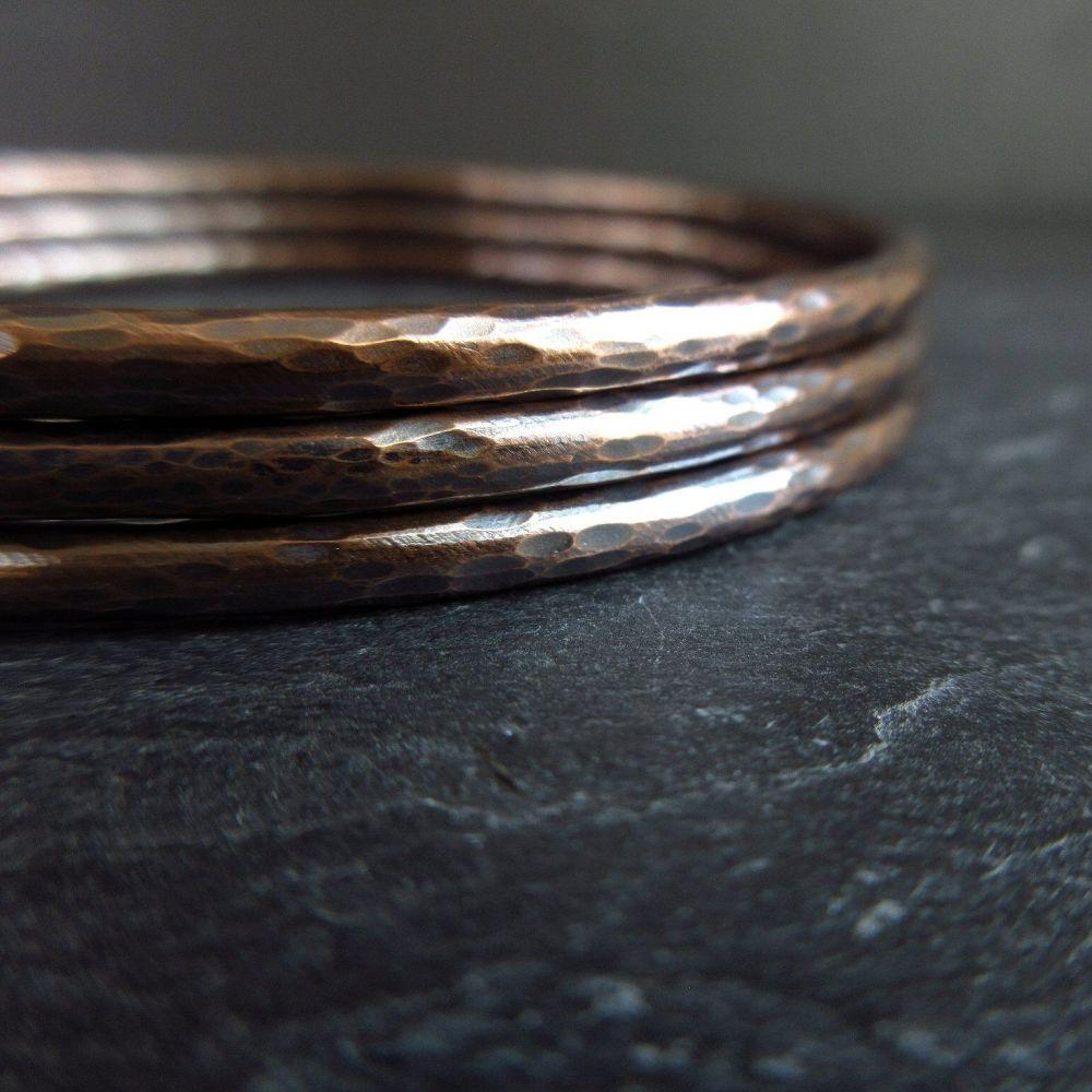 Hammered Bronze Bangles - Ball Pein Texture