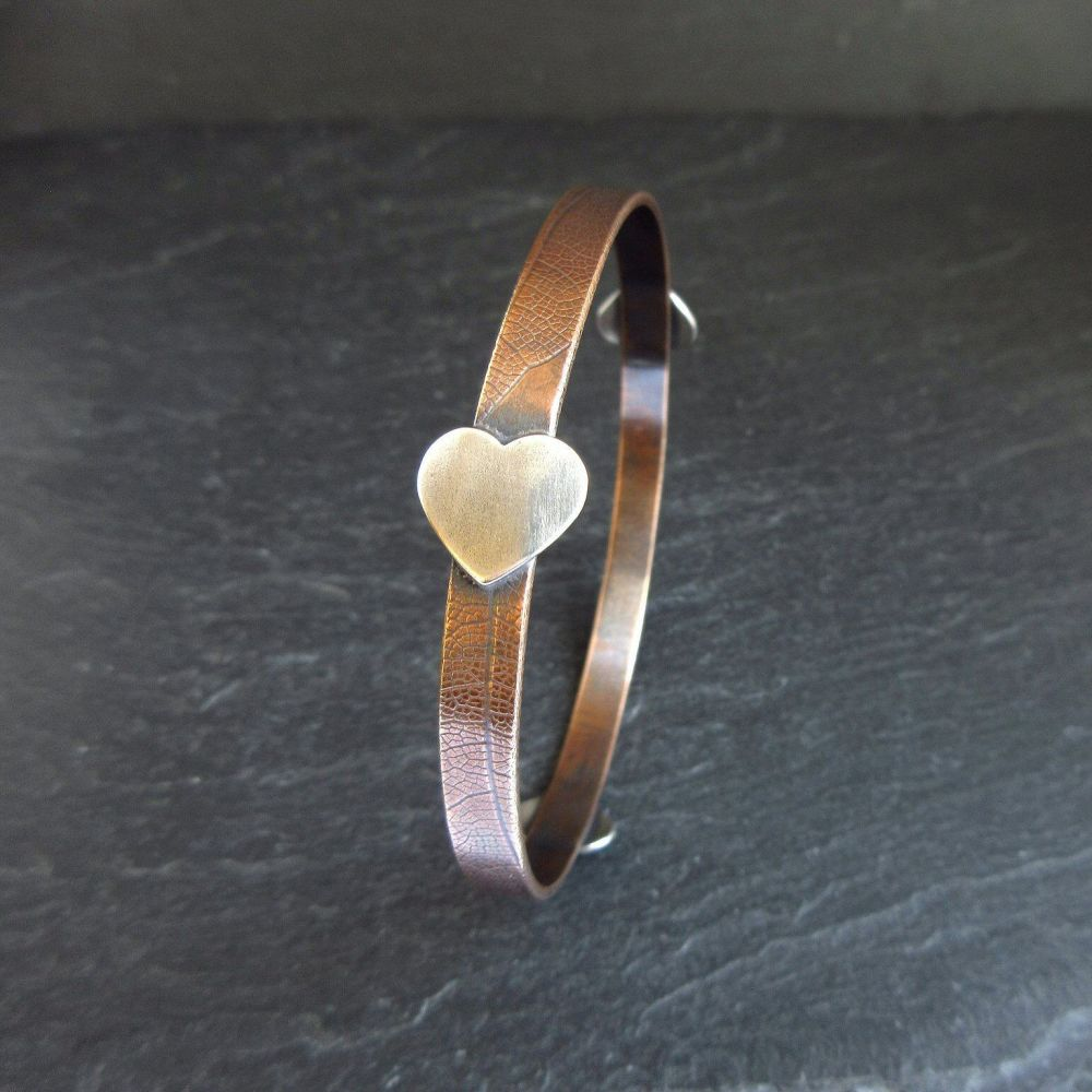 Bronze Bangle with Sterling Silver Hearts