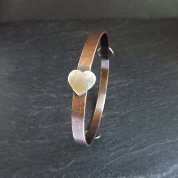 Pure Bronze Bangle with Sterling Silver Hearts - Bronze Wedding Anniversary