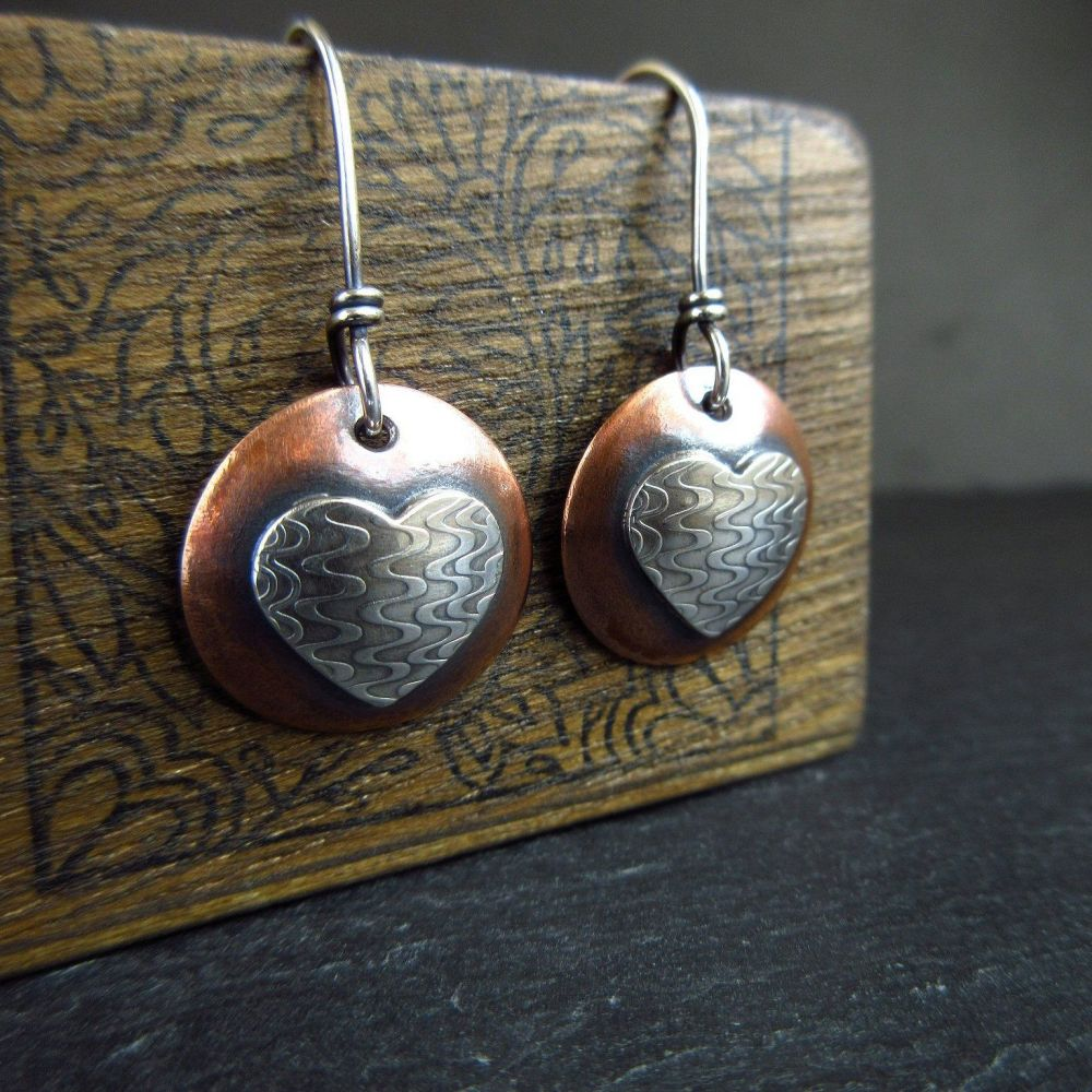 Copper and Silver Heart and Disc Earrings