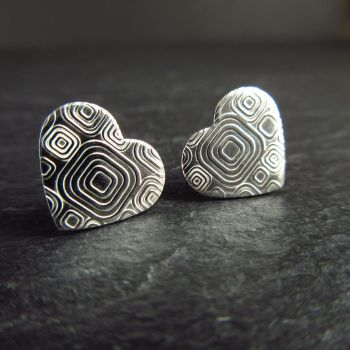 Sterling Silver Stud Earrings with Retro Design