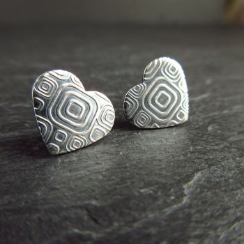 Sterling Silver Heart Stud Earrings with Embossed Pattern - Oxidized