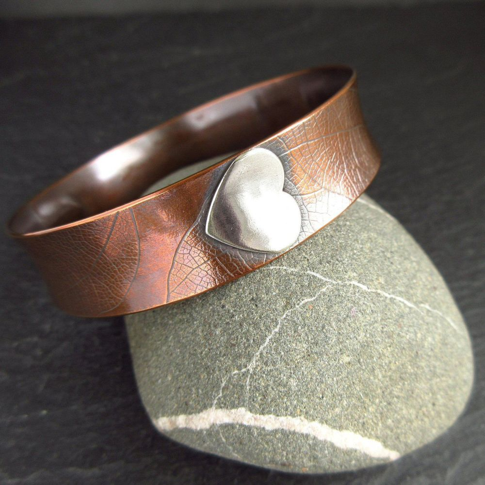 Copper Bangle with Sterling Silver Hearts