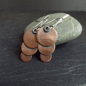Copper Earrings with Three Discs and Leaf Vein Texture