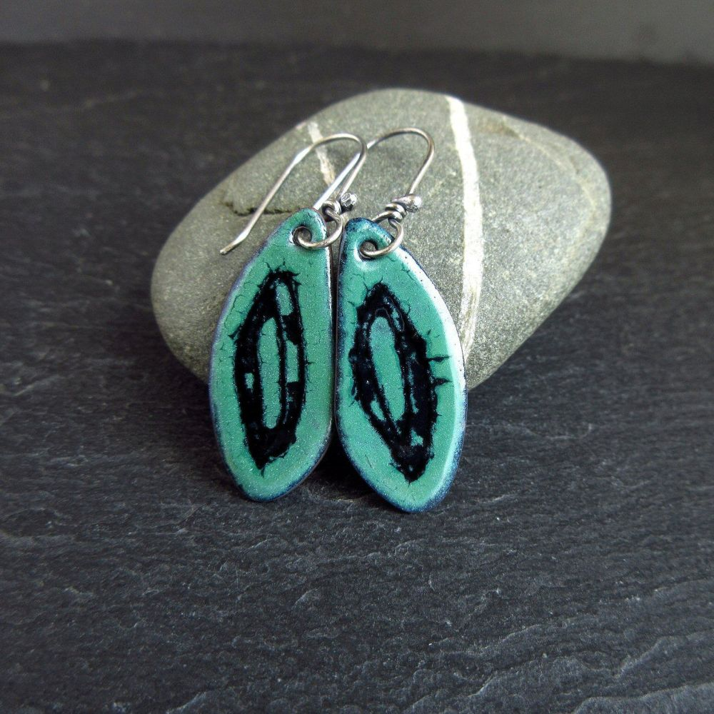 Blue Green and Black Enamel Earrings - Scribble Design