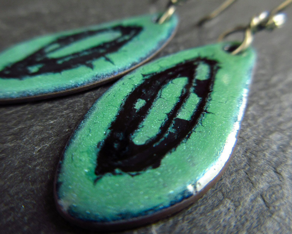 handmade enamel earrings cinnamon jewellery