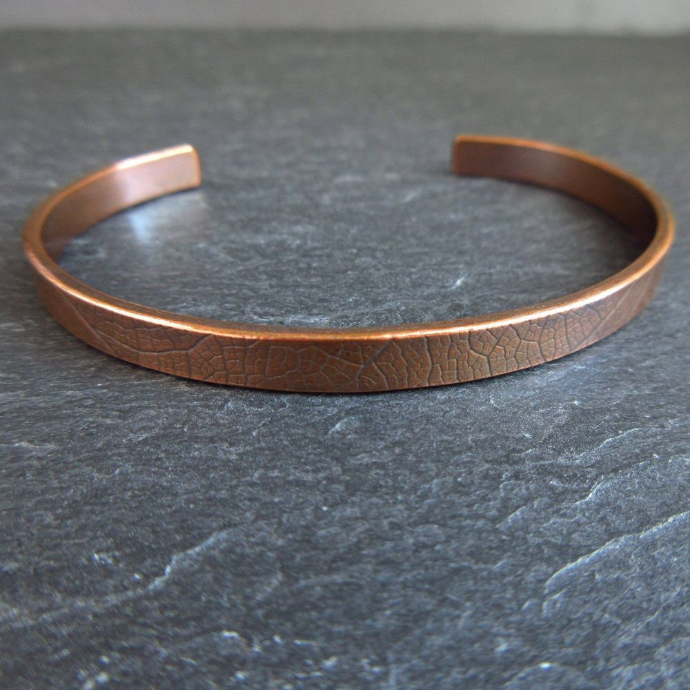 Copper Cuff Bracelet with Leaf Vein Texture - Engraving option
