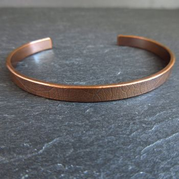 Copper Cuff Bracelet with Leaf Vein Texture