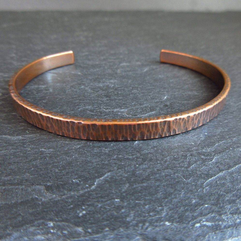 Copper Cuff Bracelet with Hammered Bark Texture - Engraving option