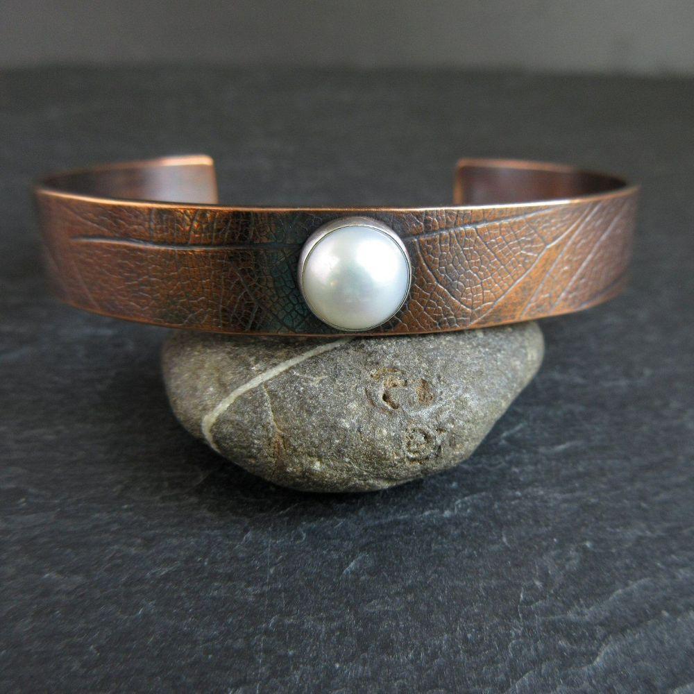 Copper Cuff Bracelet with White Pearl Cabochon