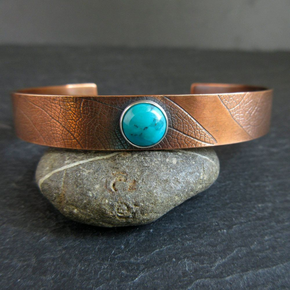 Copper Cuff Bracelet with Turquoise Cabochon