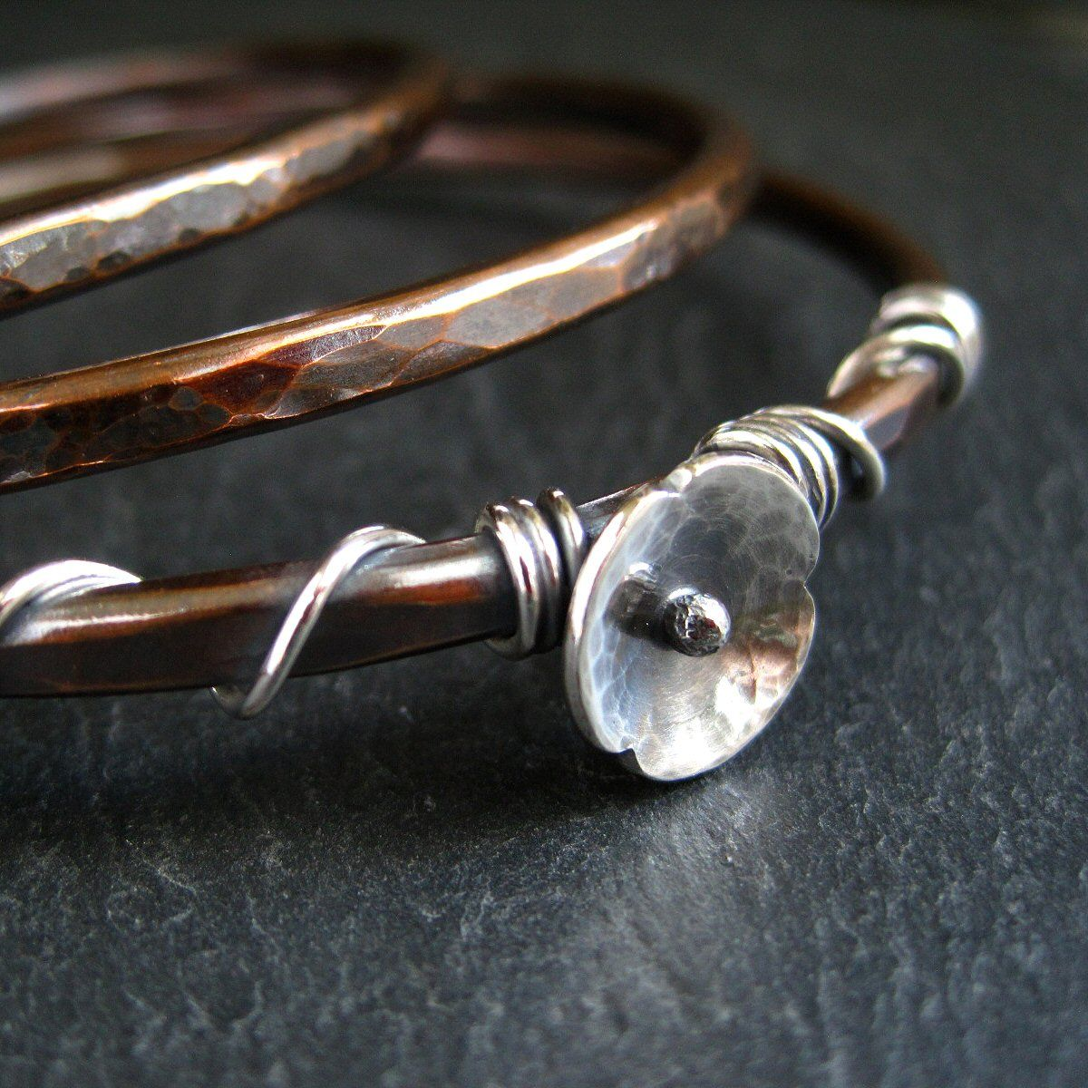 silver poppy copper bangle