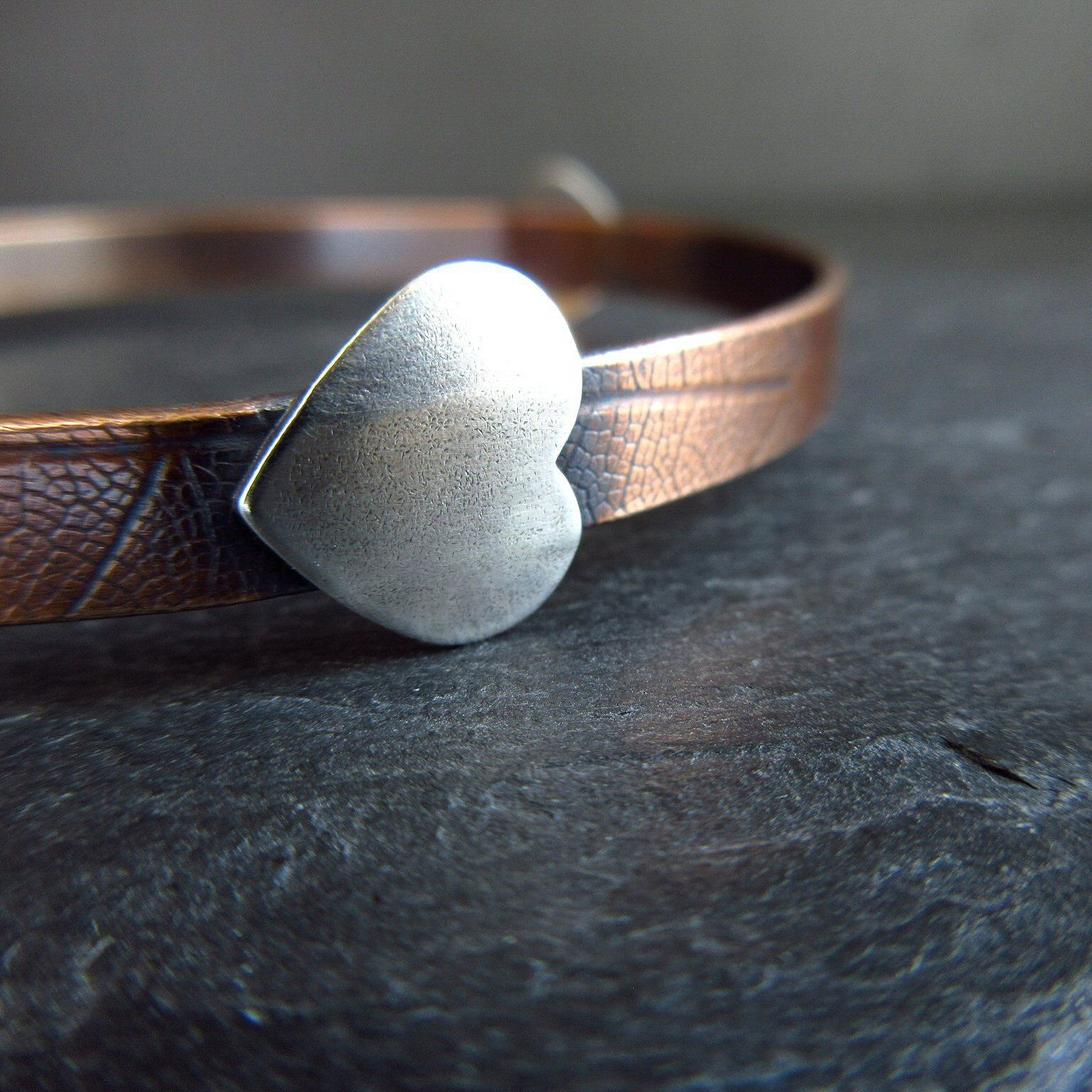 silver heart bronze bangle cinnamon jewellery