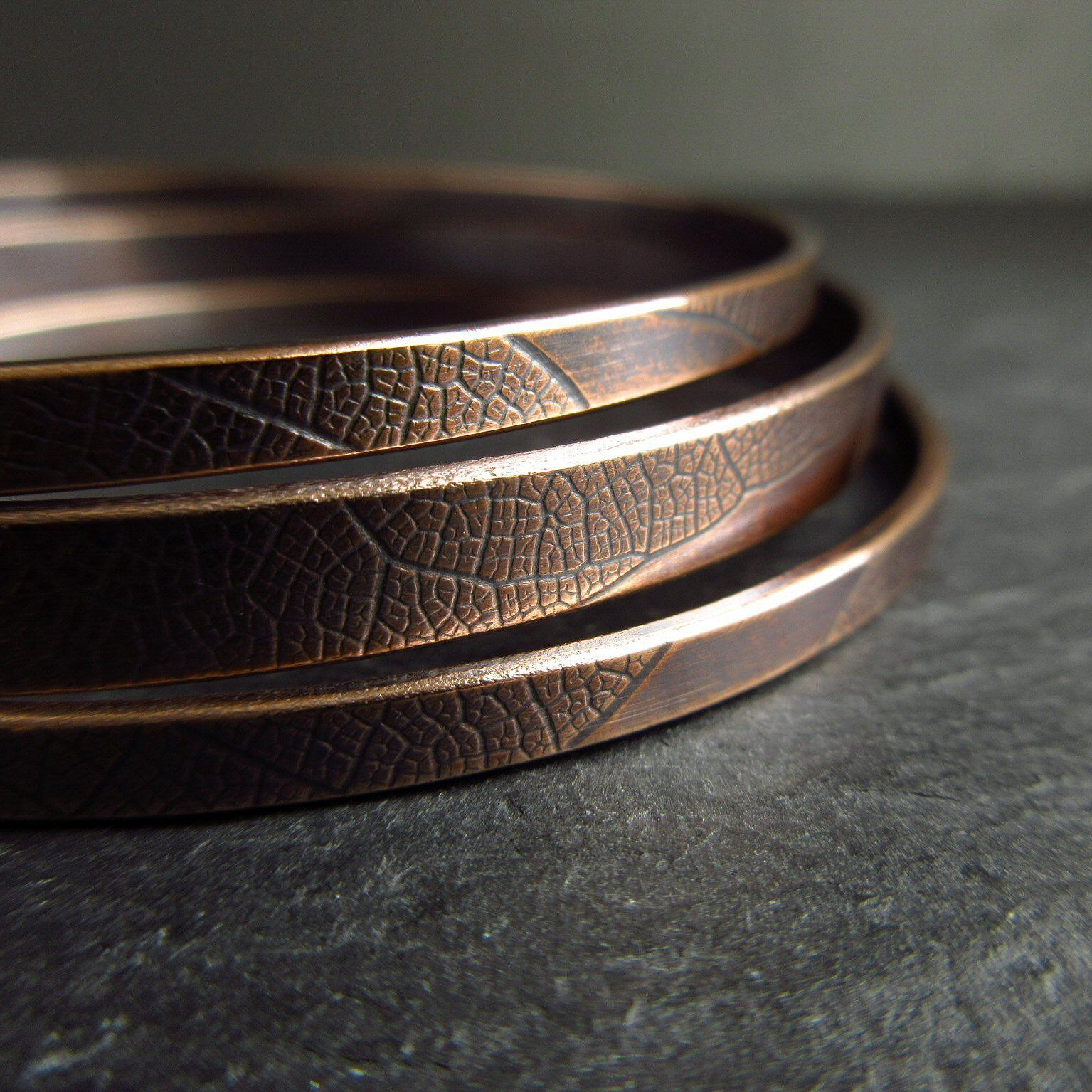 bronze leaf vein bangles for women