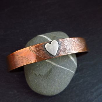 Copper Cuff Bracelet with Sterling Silver Heart