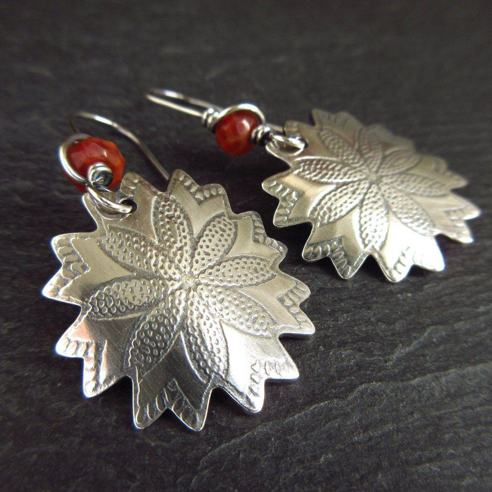 Sterling Silver Flower Earrings with Orange Agate Bead