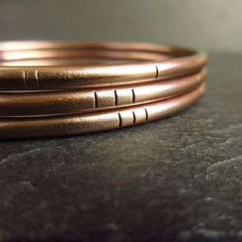 Set of Three Ladies Bronze Bangles with Matt Finish and Line Pattern