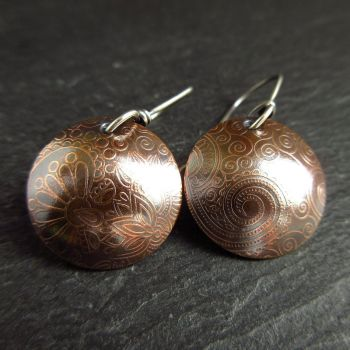 Bronze Domed Disc Earrings with Patterned Design