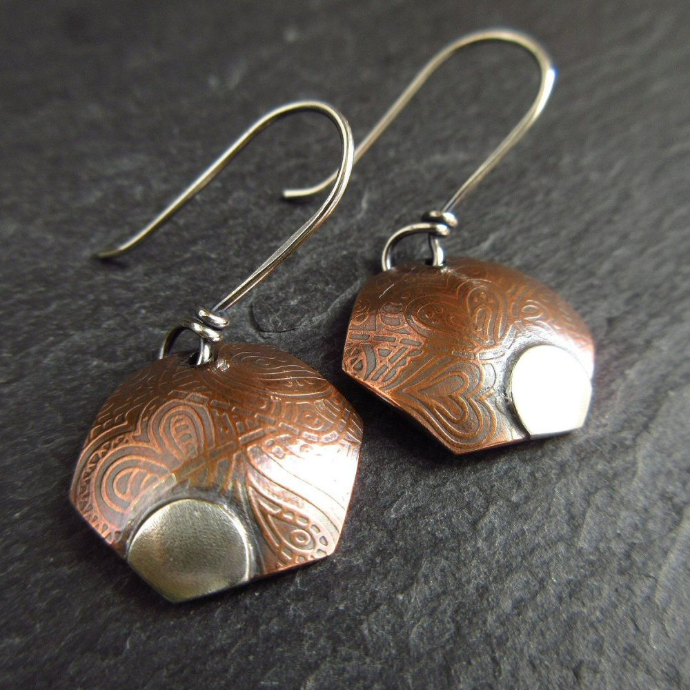 Hexagon Shape Copper Earrings with Silver Detail