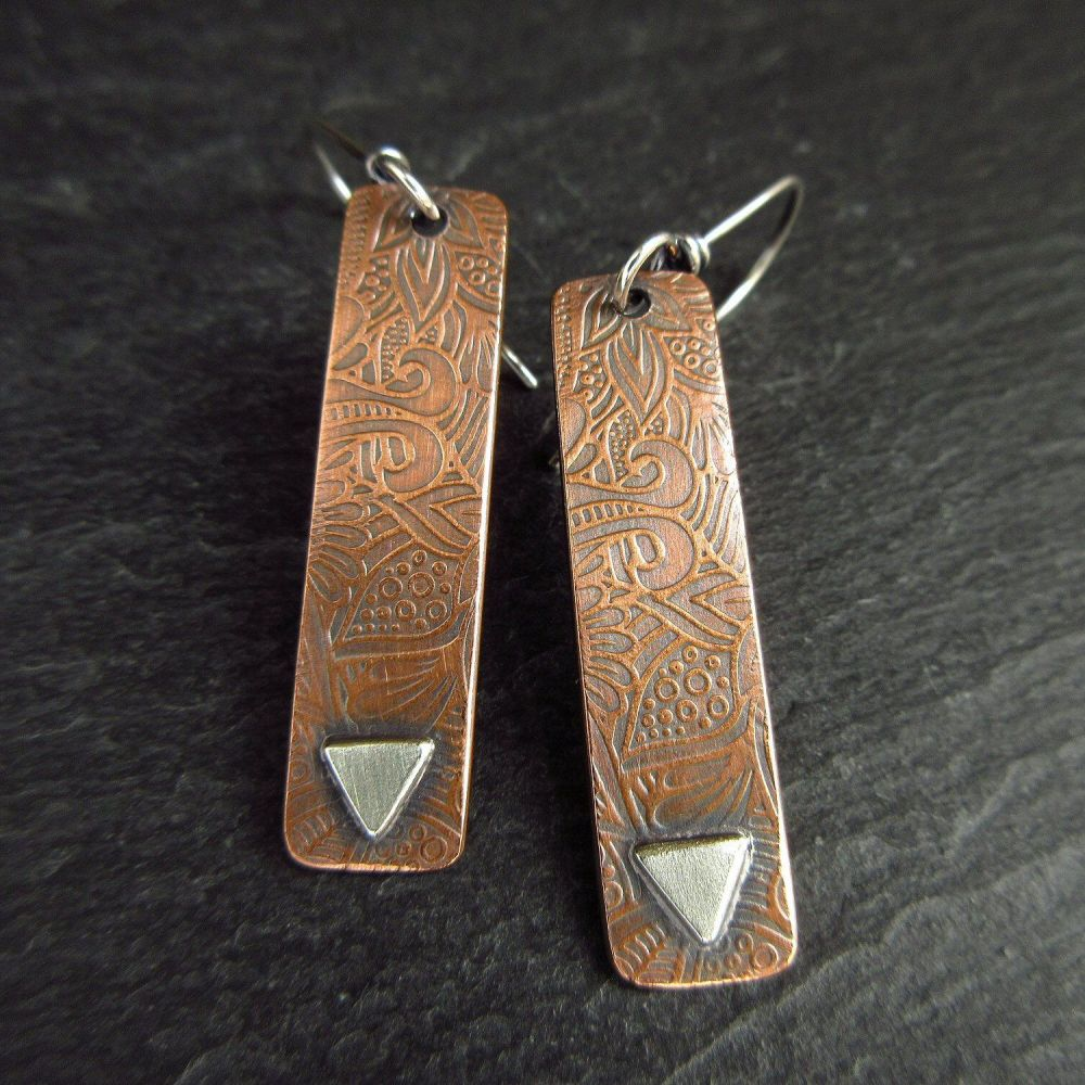 Patterned Copper Earrings with Silver Triangle - Long Rectangle Shape