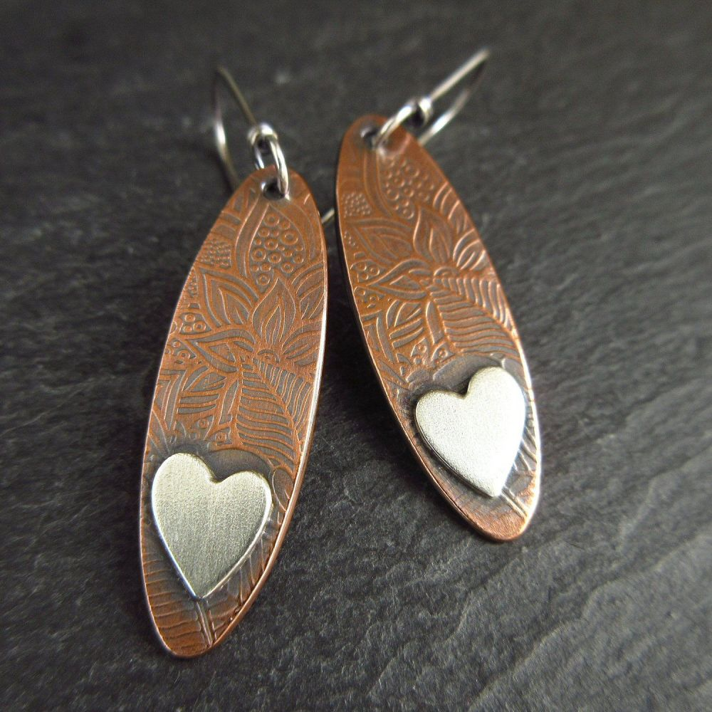 Oval Copper Earrings with Sterling Silver Heart