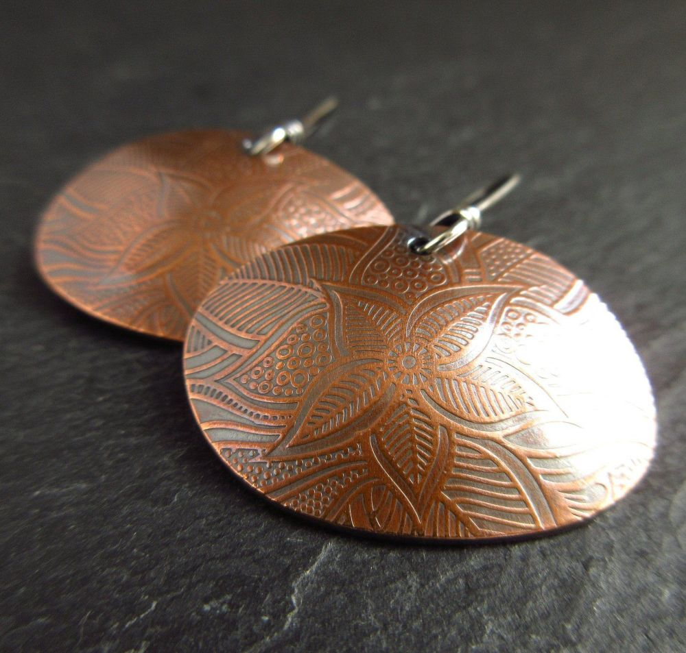 Ladies Copper Earrings - Pebble Shape with Sterling Silver Earwires