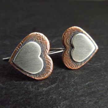 Sterling Silver and Copper Double Heart Earrings