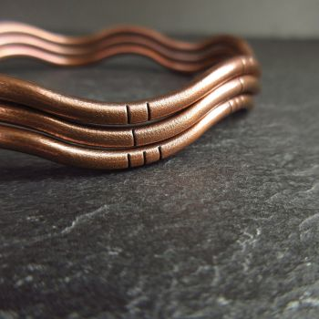 Wavy Copper Bangles with Frosted Texture and Line Decoration