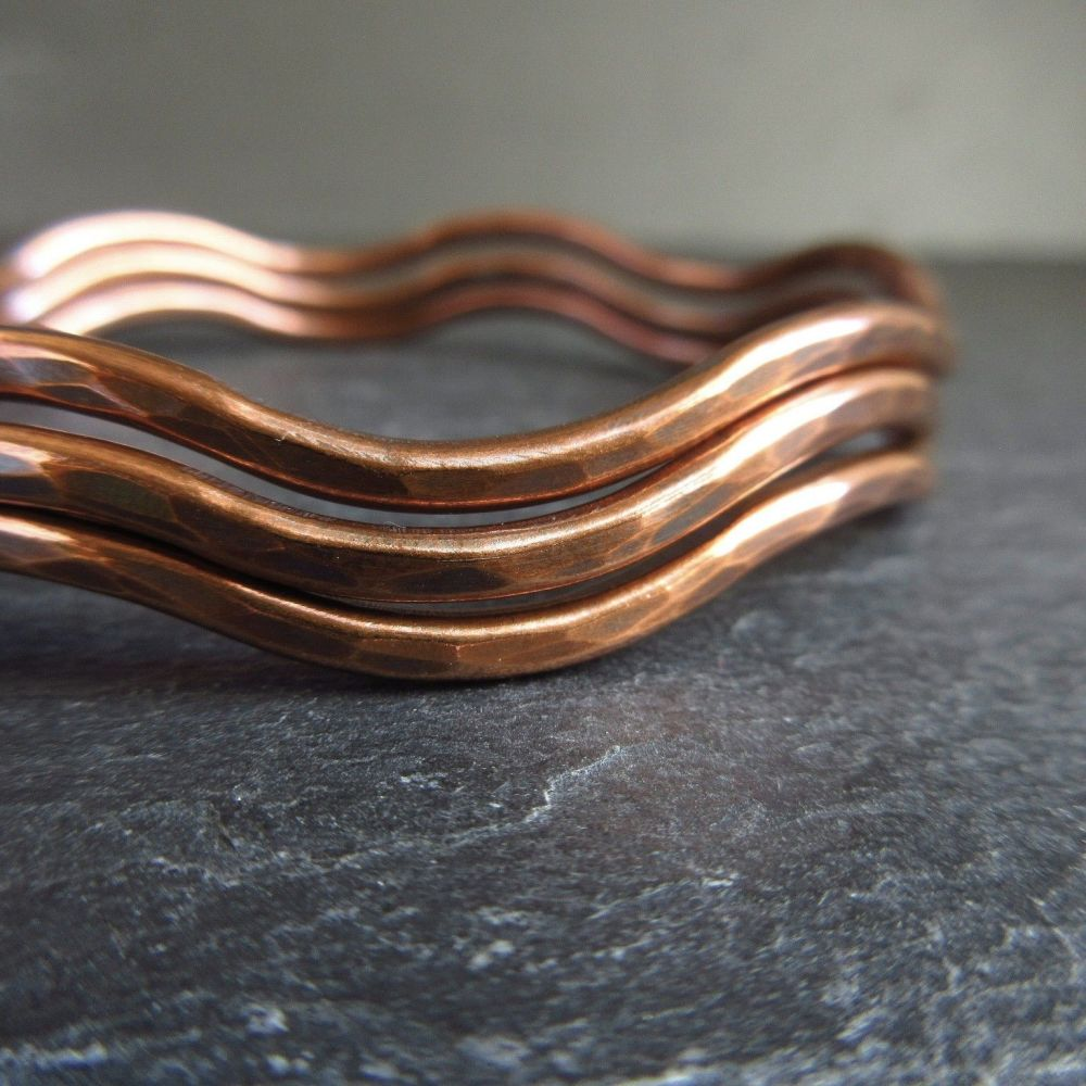 7th Anniversary Wavy Copper Bangles with Hammered Finish