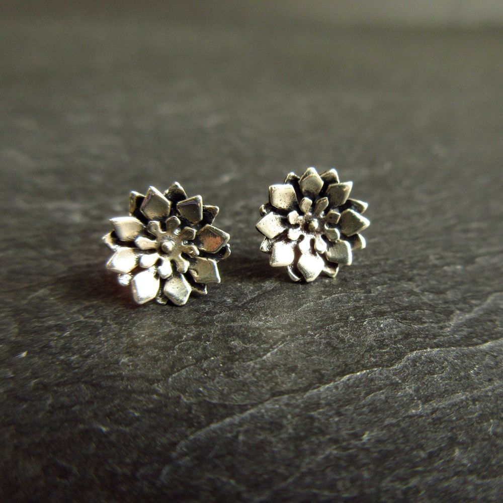 Sterling Silver Flower Stud Earrings with Oxidized Finish