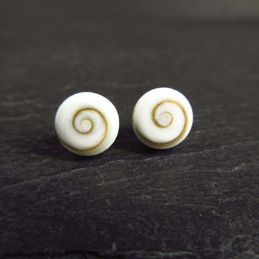Spiral Shell Sterling Silver Stud Earrings