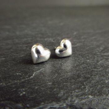 Shiny Sterling Silver Puffy Heart Stud Earrings