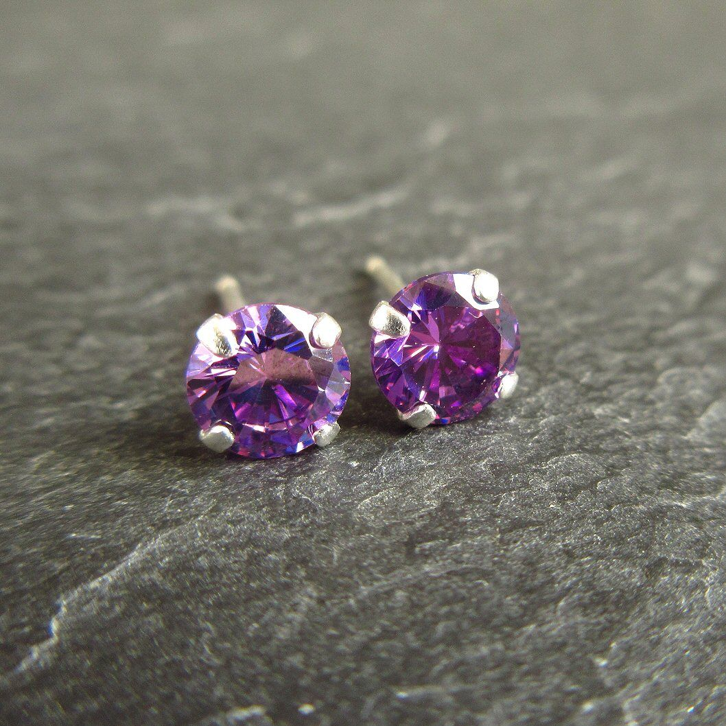 Purple CZ Sterling Silver Stud Earrings