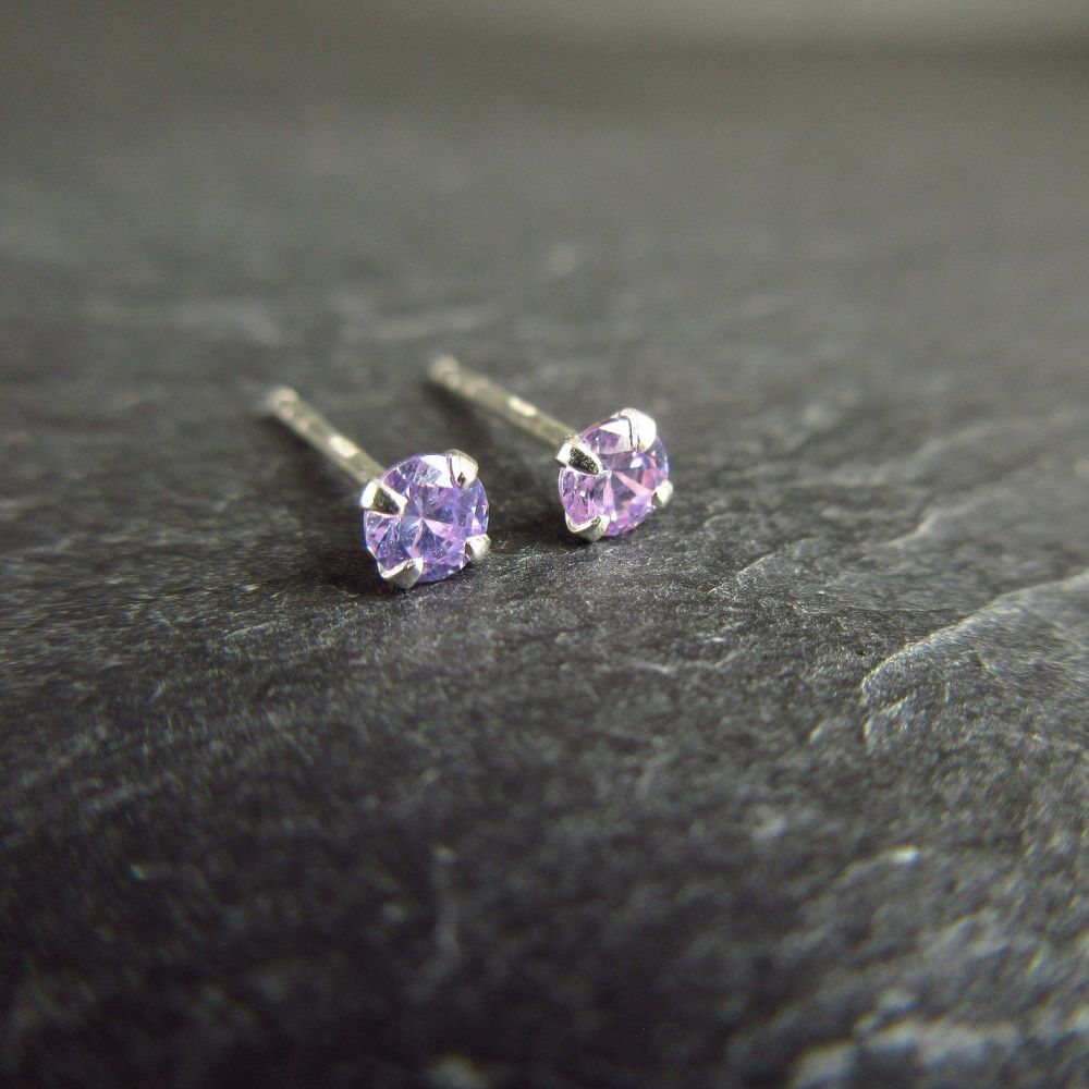 Lavender Purple CZ Sterling Silver Stud Earrings
