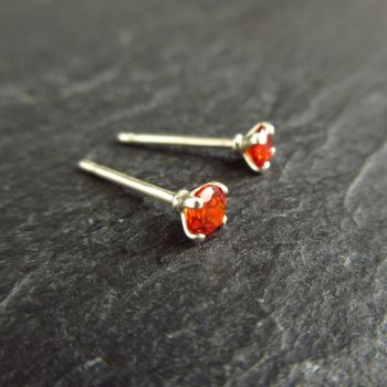 Orange CZ Sterling Silver Stud Earrings