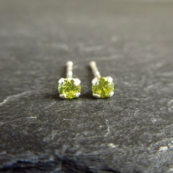 Peridot Green CZ Sterling Silver Stud Earrings