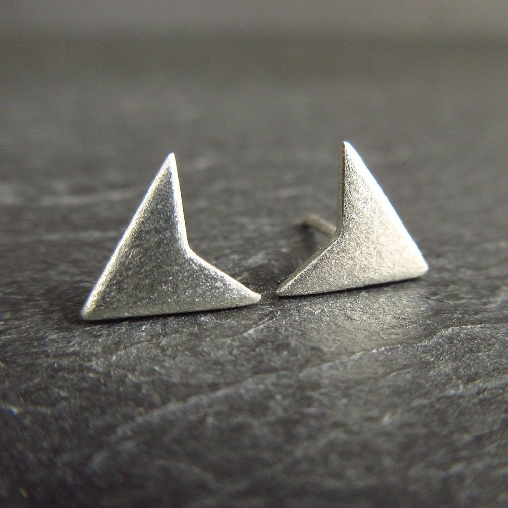 Frosted Sterling Silver Arrow Studs