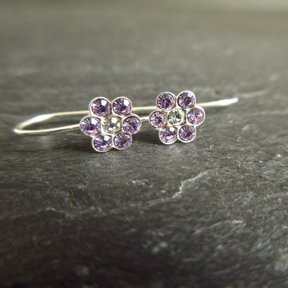 Lavender Purple CZ Flower Sterling Silver Earrings