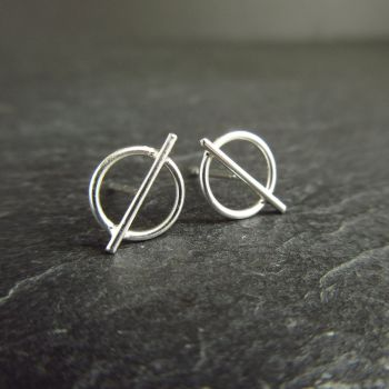 Geometric Circle with Crossbar Sterling Silver Stud Earrings