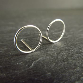 Geometric Circle Sterling Silver Stud Earrings