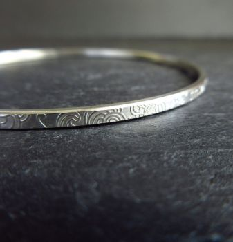 Slim Sterling Silver Bangle with Embossed Doodle Pattern